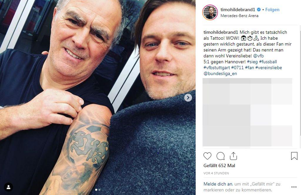 Ex-VfB-Torhüter Timo Hildebrand mit einem sichtlich bekennenden Fan. Foto: Screenshot Instagram/timohildebrand1