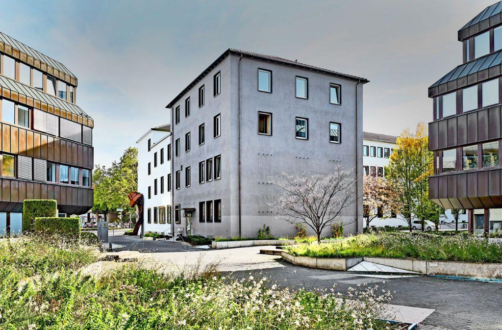 Der Künstlergarten am Amt für Vermögen und Bau ist behutsam wiederhergestellt worden – und entfaltet zu allen Tageszeiten  seine Wirkung. Foto: Joachim Benz
