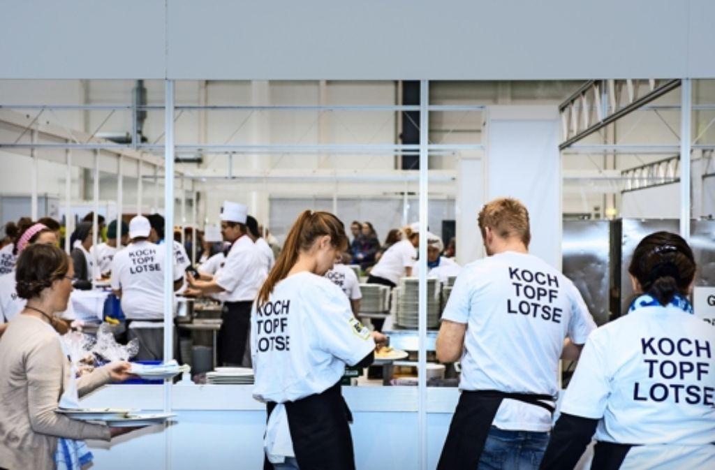 Das Gläserne Restaurant ist  bereits zum 11. Mal Teil des Kirchentags. In Stuttgart findet sich die Einrichtung auf dem Cannstatter Wasen. Foto: Bente Stachowske