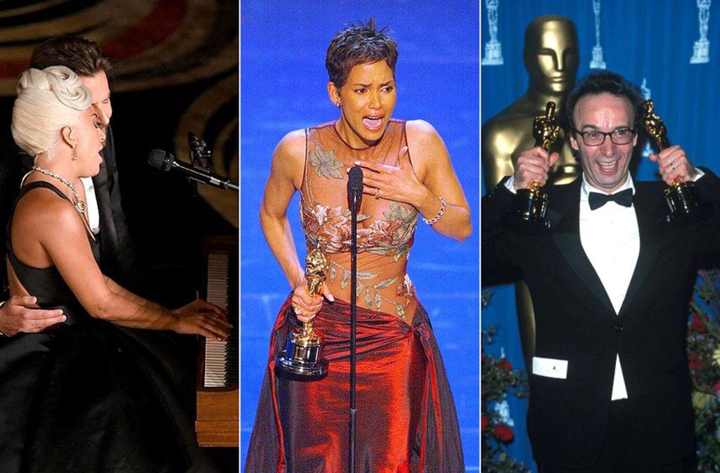 Drei große Oscar-Momente (von links): Lady Gaga und Bradley Cooper im Duett (2019), Halle Berrys Dankesrede (2002) und ein vollauf begeisterter Roberto Benigni (1999). Foto: AFP/AP/Imago