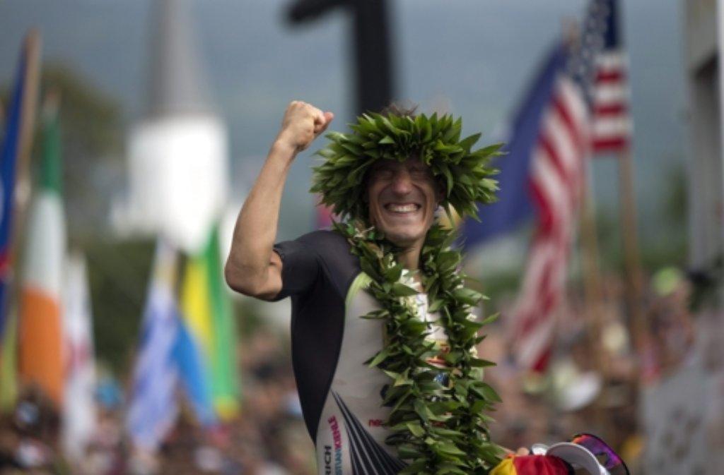 Total im Glück: Sebastian Kienle hat den Ironman auf Hawaii gewonnen. Foto: dpa