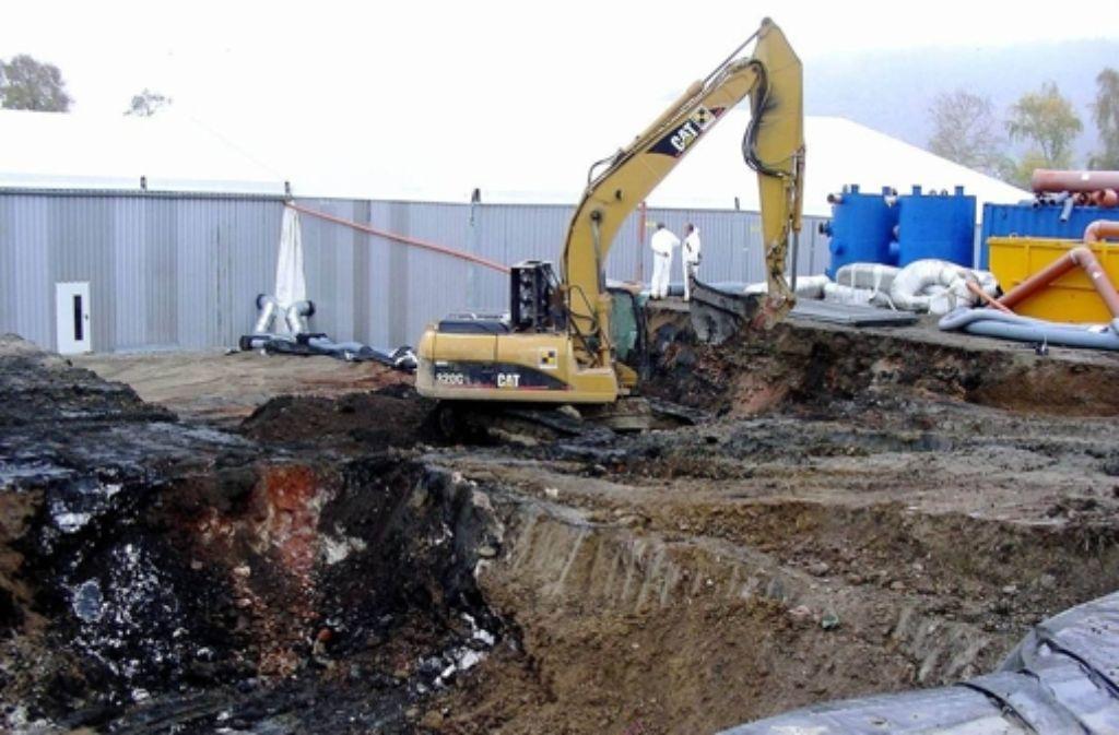 Sanierung der Hirschackergrube: Aus Sicht der Behörden vorbildlich, nach Ansicht von Greenpeace Schweiz mangelhaft. Foto: StZ