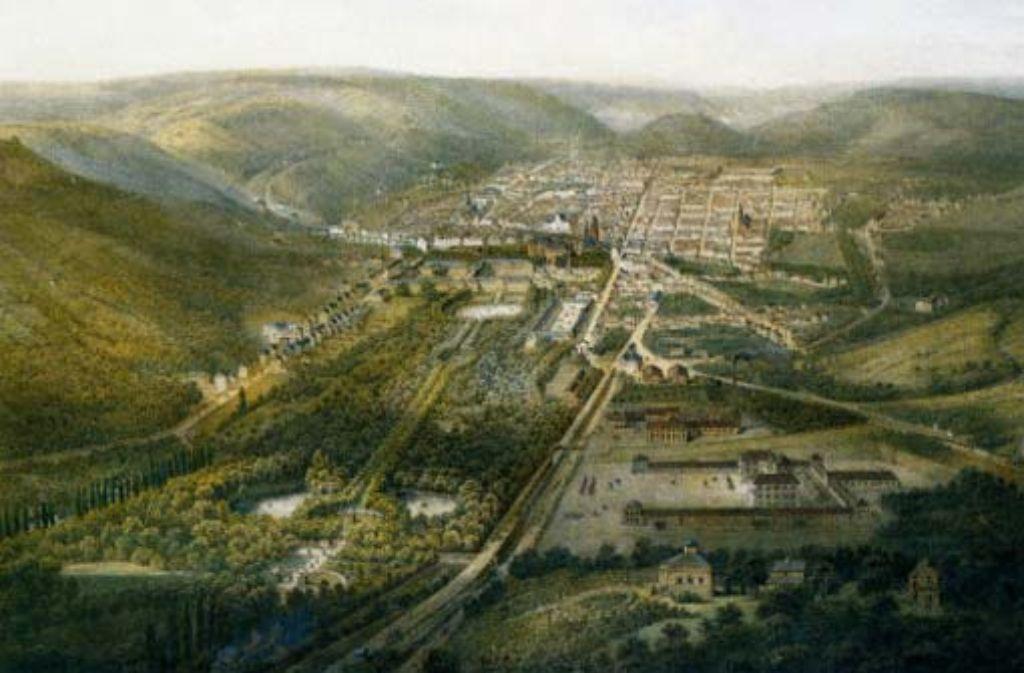 Ein Blick auf die Stadt und den Park im Jahr 1852: der Kopfbahnhof lag noch in der heutigen Bolzstraße, zwei schmale Trassen führten nach Cannstatt und Feuerbach Foto: Stadtarchiv
