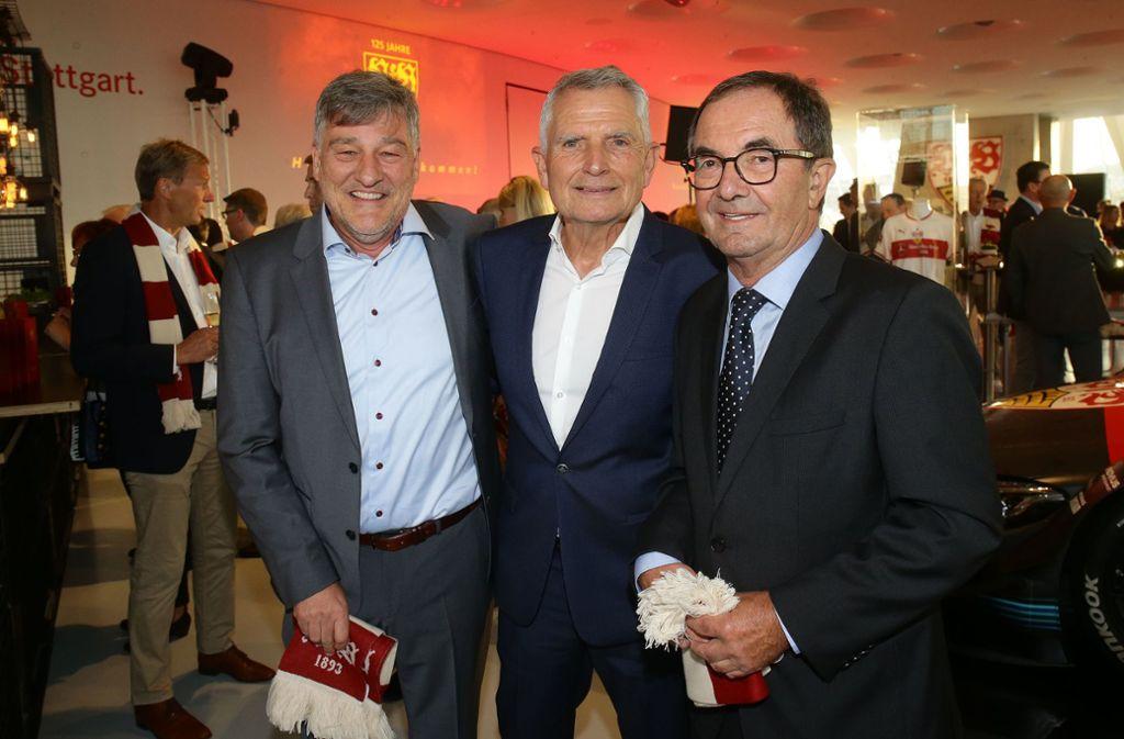 Bernd Wahler, Wolfgang Dietrich und Erwin Staudt (v.l.n.r.) standen an der Spitze des VfB Stuttgart. Foto: Pressefoto Baumann