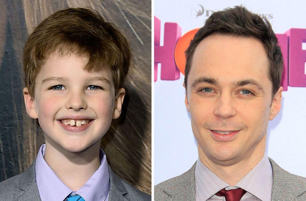"""Eine gewisse Ähnlichkeit ist vorhanden: Der Darsteller des jungen Sheldon, Iain Armitage, und der """"alte"""" Sheldon Cooper, Jim Parsons. Foto: EPA/AP"""