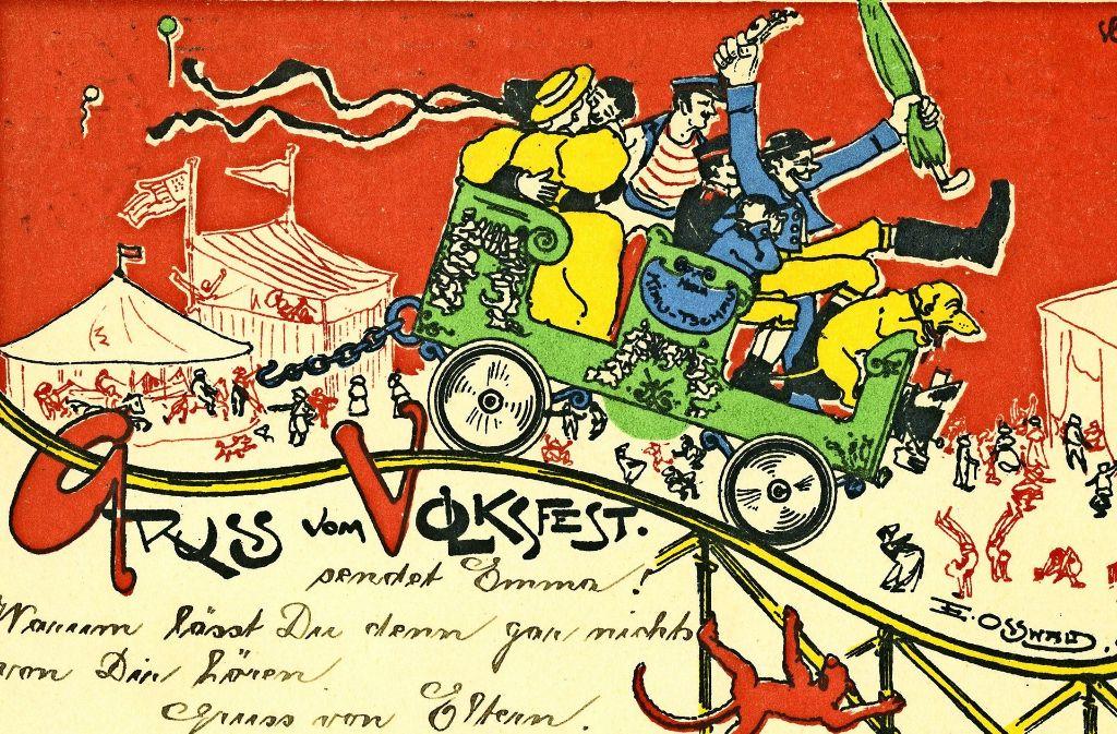 """Auf der Grußkarte von 1902 fragen die besorgten Eltern: """"Warum lässt Du den gar nichts von Dir hören?"""" Foto: Sammlung Wolfgang Müller"""