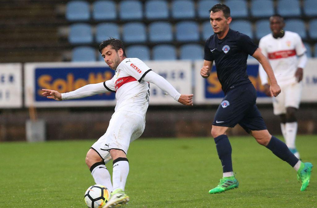 Emiliano Inusa erzielte im Testspiel gegen Kasimpasa den Treffer zum 5:0. Der VfB ist derzeit im Trainingslager im Stubaital. Foto: Pressefoto Baumann