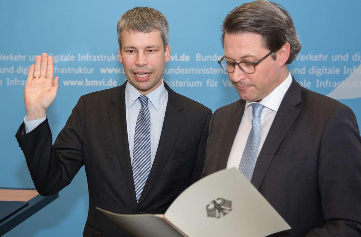 Steffen Bilger ist Vekehrsstaatssekretär in Berlin – 2018 hat Minister Andreas Scheuer (rechts) ihn verpflichtet. Foto: BMVI/Hans-Peter Koenig