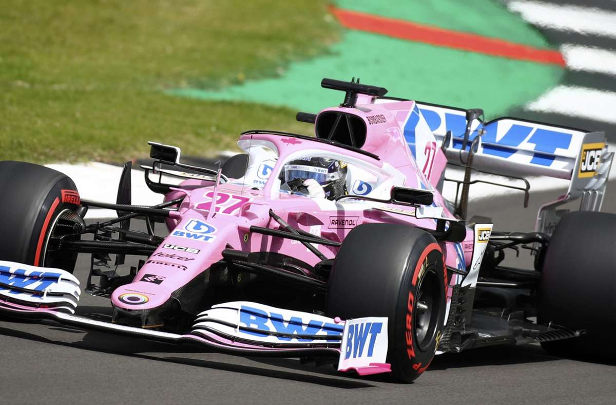 "Fahrer-Pech: Hülkenbergs ""Pink Panther"" gibt seinen Geist auf. Foto: dpa/Bryn Lennon"
