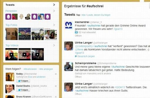 """Twitter-Hashtag """"Aufschrei"""" gewinnt Grimme Online Award"""