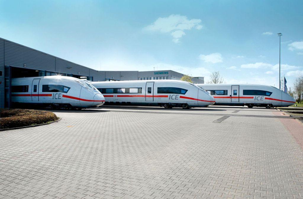 ICE der  Baureihe 407 von Siemens: Wenn  die Deutsche Bahn nun wieder auf 300 statt 250 km/h schnelle  Züge setzt, wären sie am schnellsten lieferbar. Foto: Siemens AG