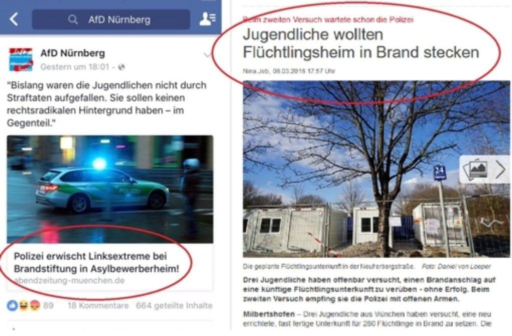 Links Fälschung, rechts Original: Aus Jugendlichen werden Linksextreme. Foto: Screenshot Twitter @Lokoschat