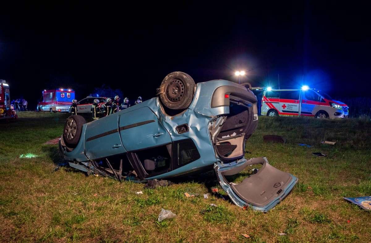 Ein betrunkener 22-Jähriger war mit seinem Auto von der Straße abgekommen. Foto: 7aktuell.de/Alexander Hald