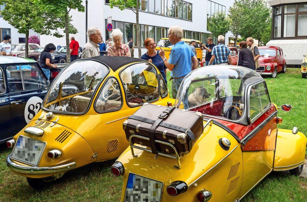 Sieht man nur selten: Heinkel Kabine T 153 und Messerschmitt Kabinenroller KR 200 in schnittigem Gelb! Foto: factum/