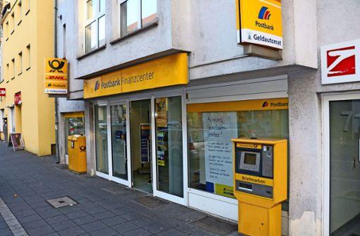 Die Postbankfiliale an der Unterländer Straße  schließt