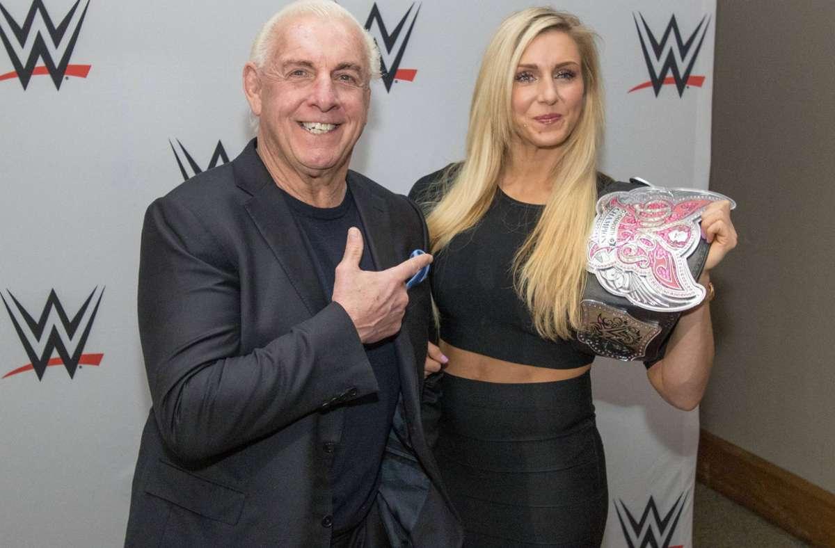 Ric Flair mit seiner Tochter Ashley, die unter dem Namen Charlotte Flair ein Star der World Wrestling Entertainment ist. Foto: imago/nph