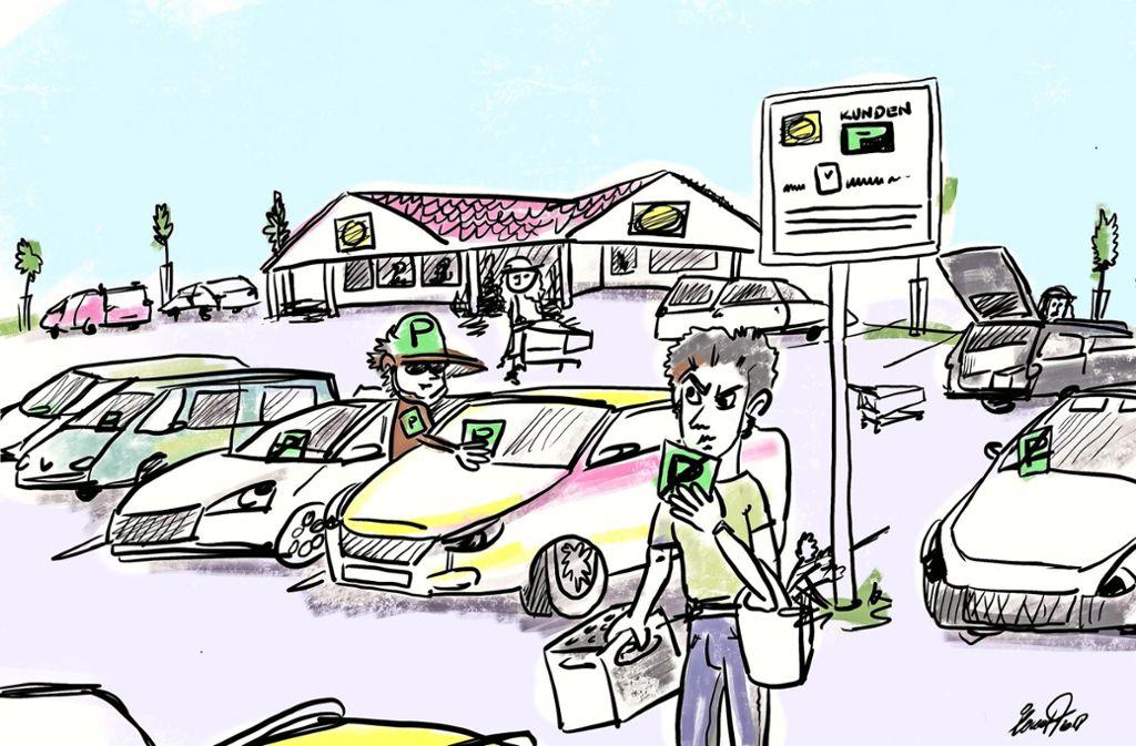 Eigentlich sollen mit den Strafzetteln die Fremdparker vom Parkplatz des Filder-Einkaufszentrums   ferngehalten werden. Tatsächlich trifft es aber immer wieder auch Kunden des Supermarkts. Foto: Ilona Trimbacher