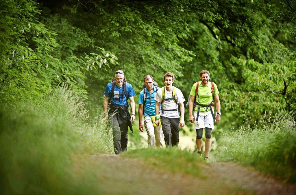 Die größte Strecke ist geschafft:  Teilnehmer der 24-Stunden-Wanderung  nahe  des Kleinheppacher Kopfes bei Korb. Foto: Gottfried Stoppel