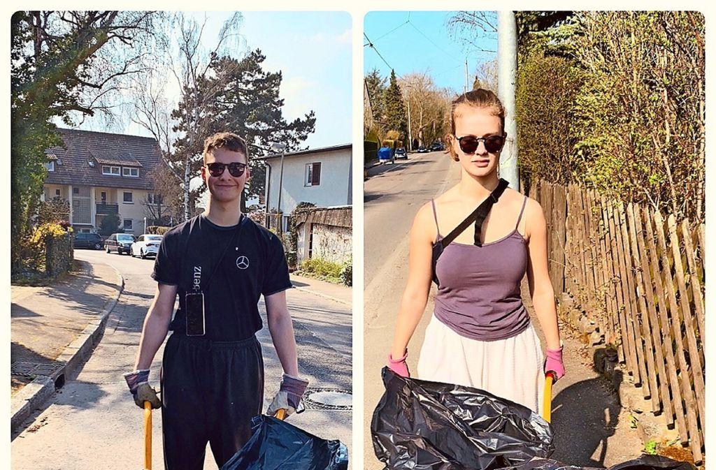 Florian und Clara Danielski beim Unrat sammeln in Sonnenberg. Foto: privat