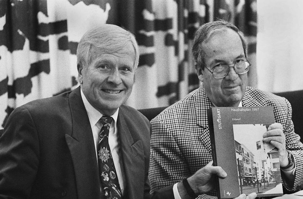 Klaus Lang (links) und Manfred Rommel: Zwei CDU'ler vom alten Schlag, die über die Parteimitgliedschaft hinaus auch freundschaftlich verbunden waren. Foto: Kraufmann
