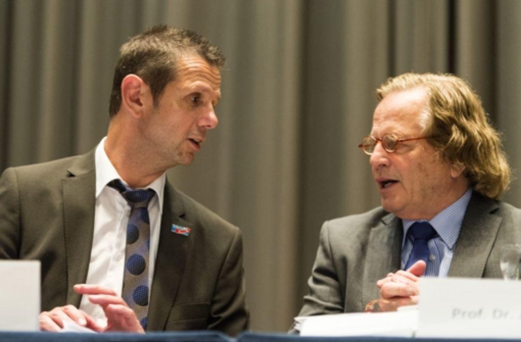 Bernd Kölmel (links) bleibt Landesvorsitzender der AfD, Jens Zeller (rechts) gehört ebenfalls zum Landesvorstand. Foto: dpa