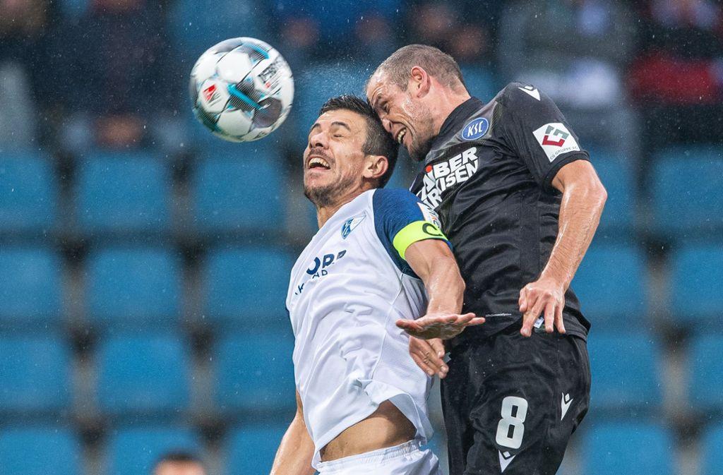 Der KSC hat beim VfL Bochum in letzter Minute ein Unentschieden erkämpft. Foto: dpa/Guido Kirchner