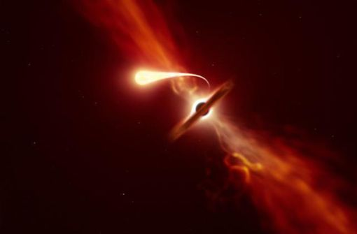 Schwarzes Loch zerreißt Stern wie Spaghetti