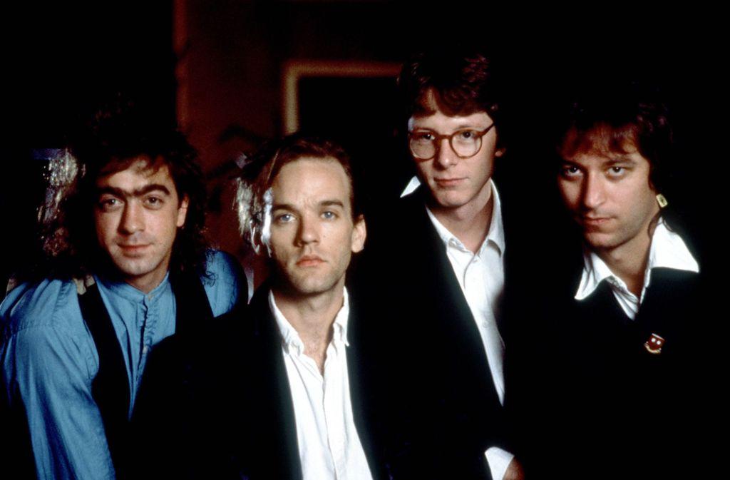 Die Band R.E.M. in den 1980er Jahren: Bill Berry, Michael Stipe, Mike Mills und Peter Buck (von links) Foto: imago images/Mary Evans