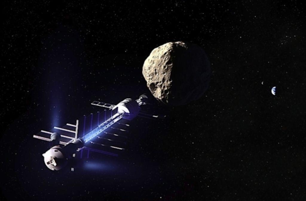 Ein Raumschiff könnte einen Asteroiden gewissermaßen abschleppen. Foto: Dan Durda / B612 Foundation