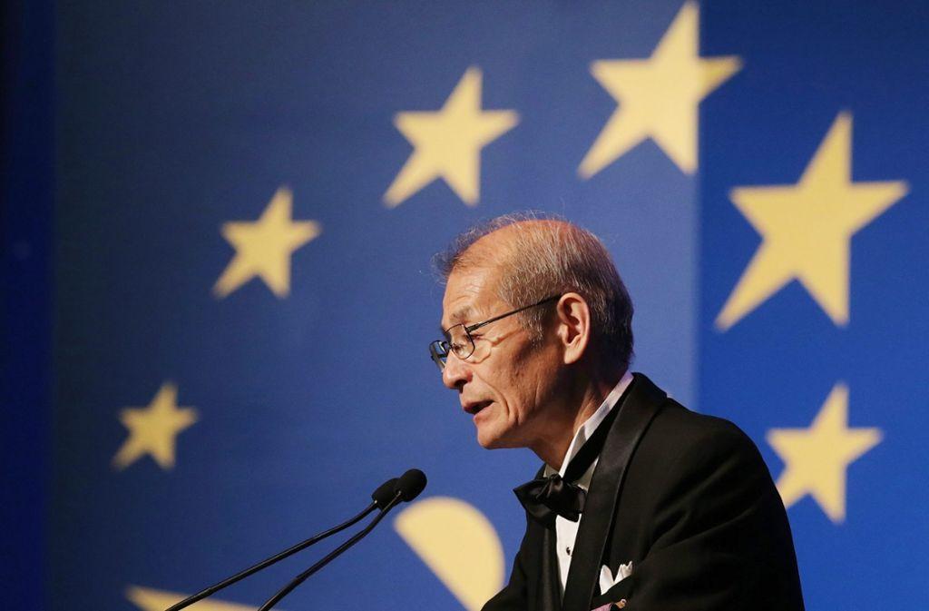Der Japaner Akira Yoshino erhält als einer von drei Batterieforschern den Chemie-Nobelpreis. Foto: dpa/Anatoly Maltsev