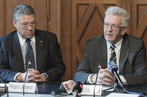 Der Schweizer Ständeratspräsident Filippo Lombardi (links) und Baden-Württembergs Ministerpräsident Winfried Kretschmann Foto: dpa