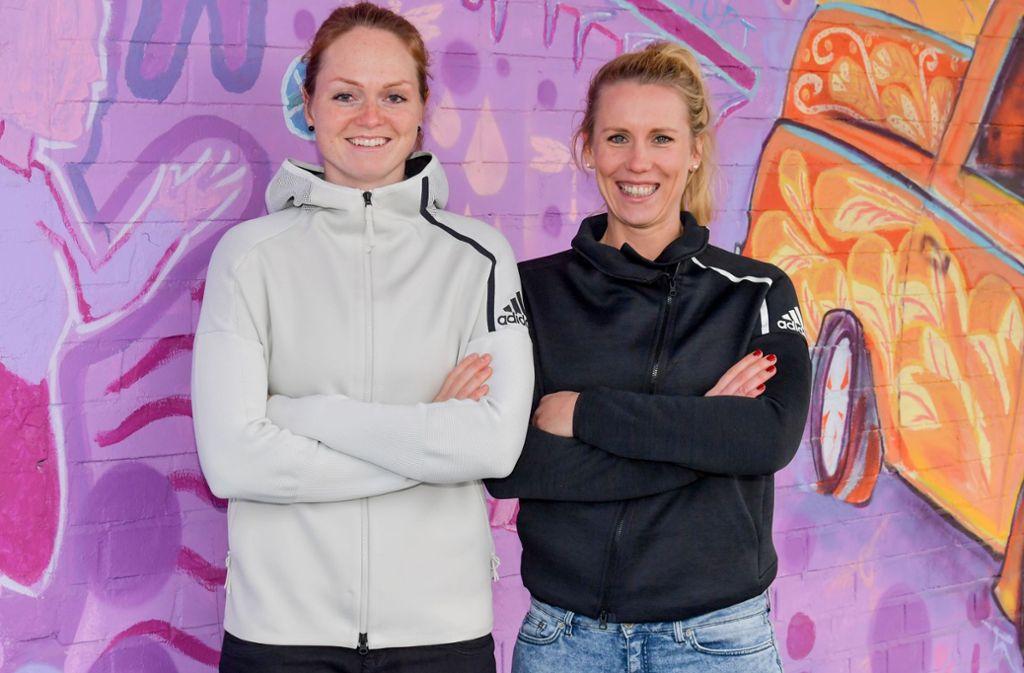 Das neue Stuttgarter Beachvolleyball-Duo: Blockspielerin Julia Sude (li.) und Abwehrspezialistin Karla Borger Foto: Tom Bloch
