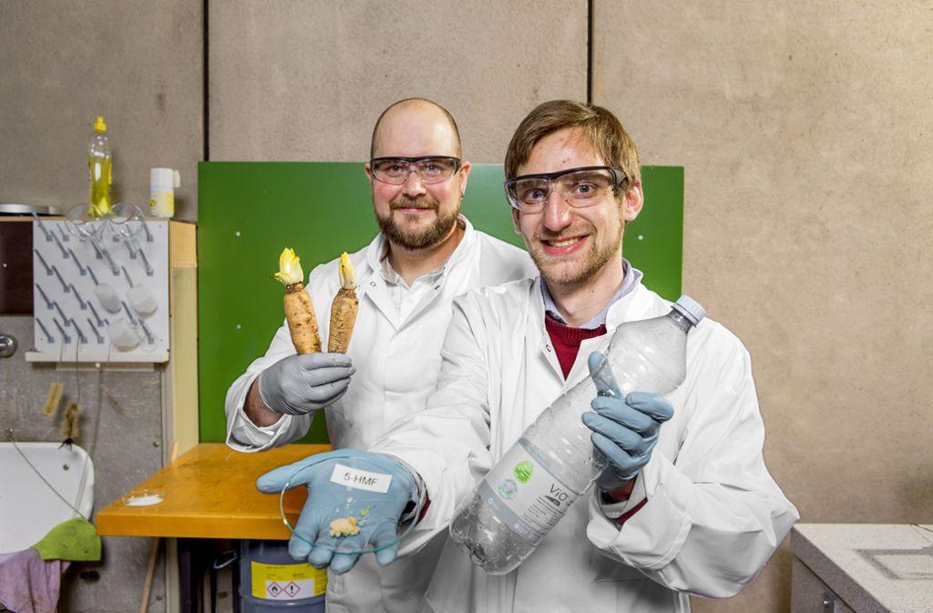 Dominik Wüst (links) und Markus Gölz erforschen, wie man aus  Chicoreewurzeln neue Endprodukte machen kann – etwa biobasierten Kunststoff, Gesichtsmasken oder Brennstoff. Foto: Universität Hohenheim/Jan Winkler