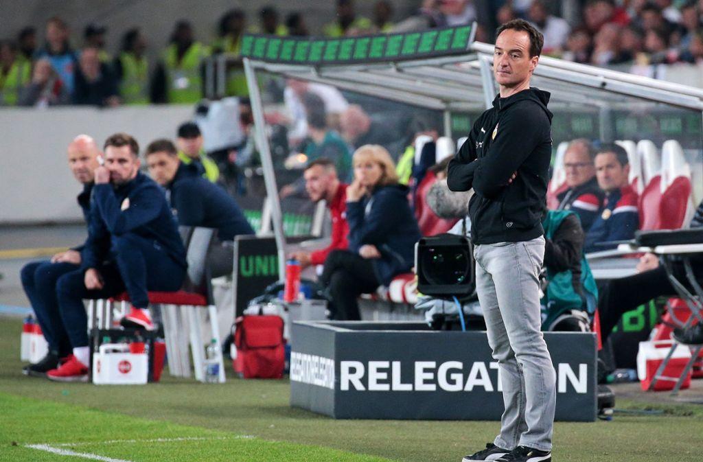 Nico Willig und der VfB Stuttgart haben im Relegations-Hinspiel gegen Union Berlin nur 2:2 gespielt. Foto: Pressefoto Baumann