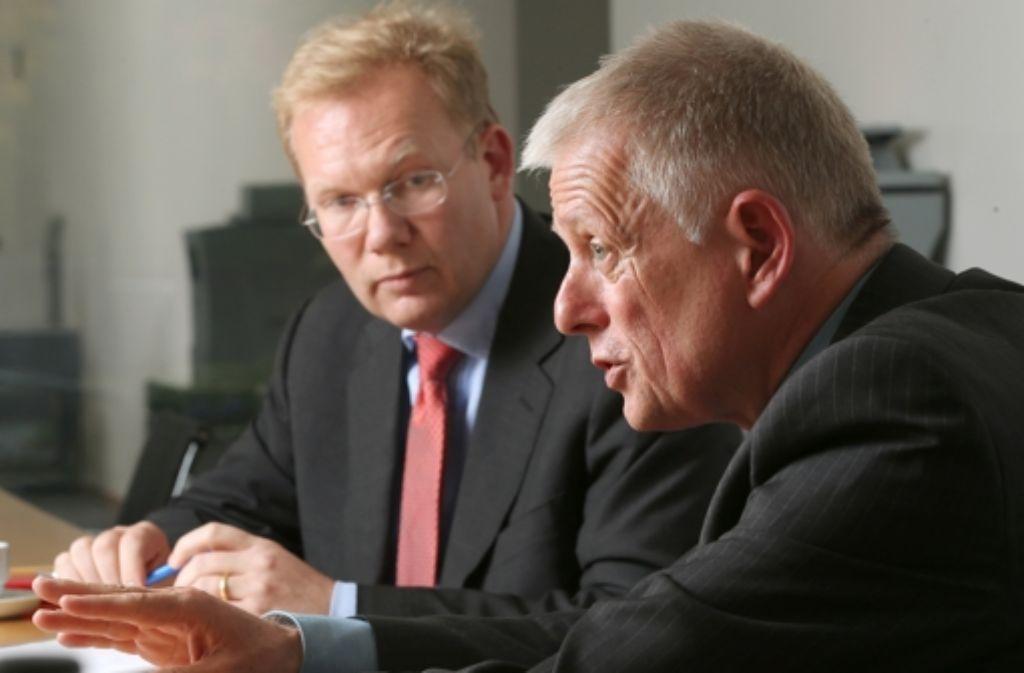 Haben sich im Wahlkampf nichts geschenkt: Sebastian Turner und Fritz Kuhn (r.). Foto: Zweygarth