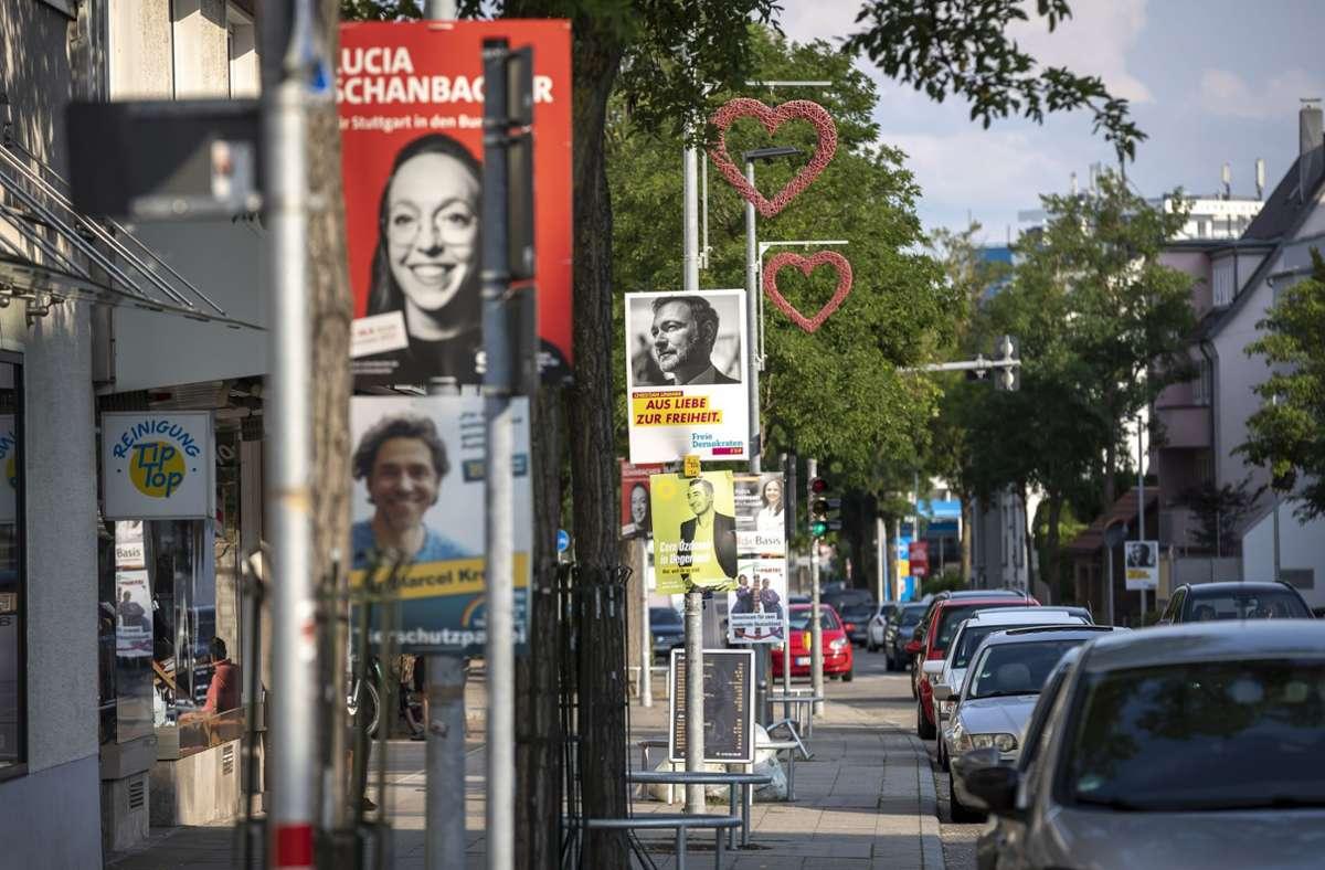 Unübersehbar: Wahlwerbung in Stuttgart, hier in Sillenbuch Foto: Lichtgut/Julian Rettig