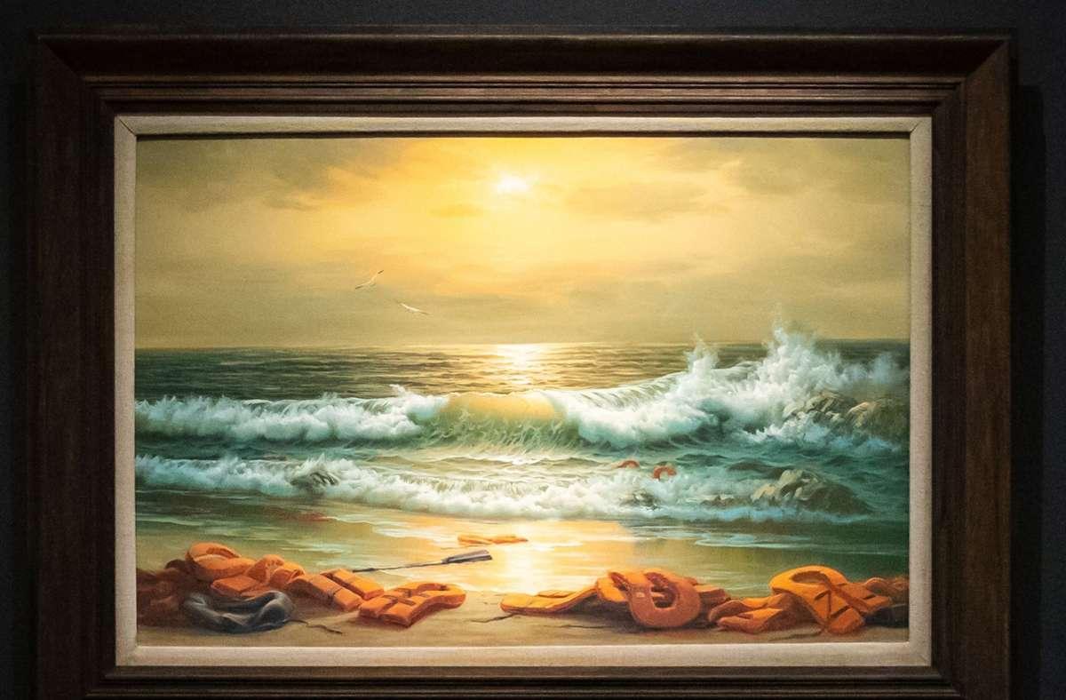 """Das Werk """"Mediterranean Sea View 2017"""" brachte auf einer Sotheby's-Auktion in London am Dienstagabend über 2,4 Millionen Euro ein Foto: dpa/Aaron Chown"""