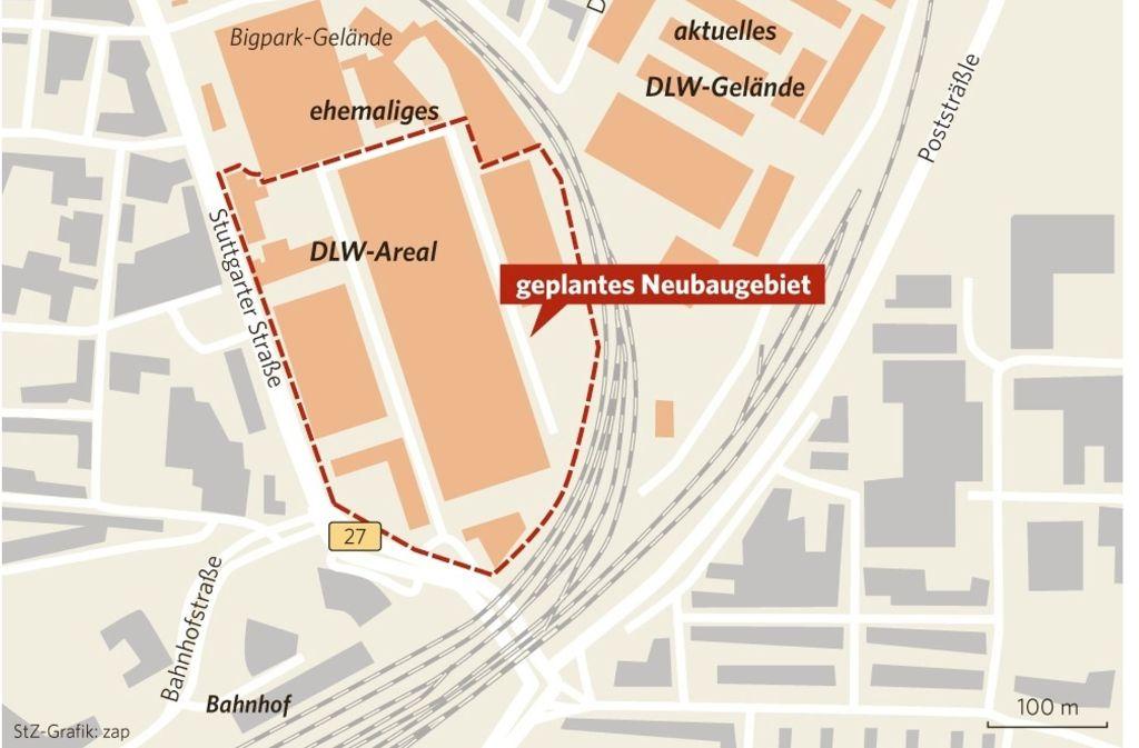 Auf dem unteren Teil des ehemaligen DLW-Geländes soll urbaner Wohnraum entstehen. Foto: StZ-Grafik: zap