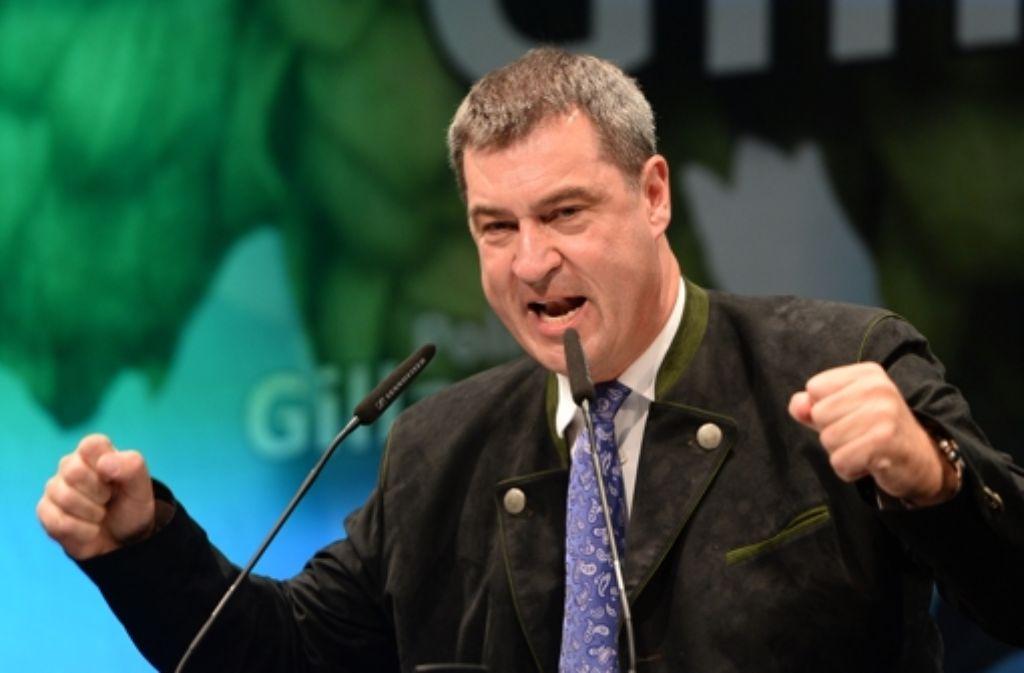 Der bayerische Finanz- und Heimatminister Markus Söder (CSU)  am 7. September 2015  beim Politischen Frühschoppen Gillamoos in Abensberg (Bayern). Foto: dpa