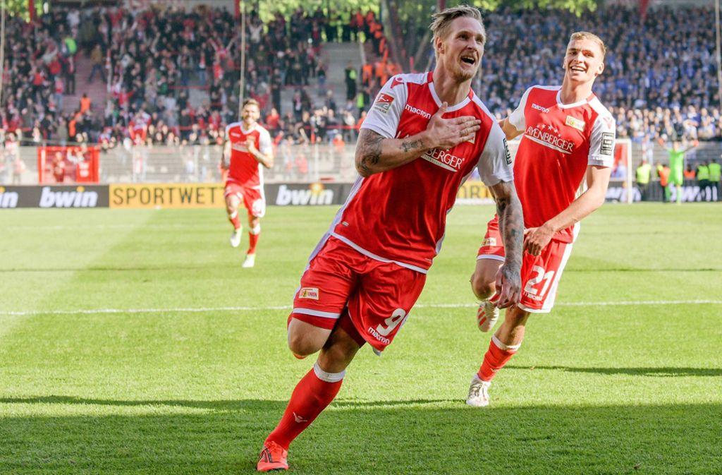 Sebastian Polter (li.) und Grischa Prömel – zwei Stammkräfte des 1. FC Union Berlin. Foto: dpa