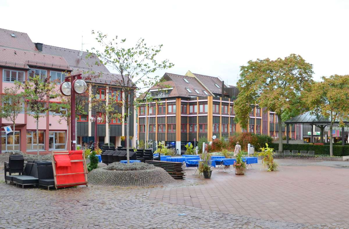 Besucher der Stadtteilbibliothek (links)) sollen auf einer  Terrasse ihr Buch genießen können. Derweil sieht der Bezirksbeirat die gewölbten Baumbeete kritisch. Foto: Sandra Hintermayr