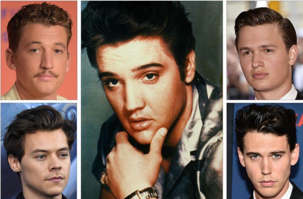 Um die Rolle des Popstars Elvis Presley (1935-1977, Mitte) bewerben sich Miles Teller (oben links), Ansel Elgort (oben rechts), Harry Styles (unten links) und Austin Butler Foto: AFP (2)/dpa/Getty
