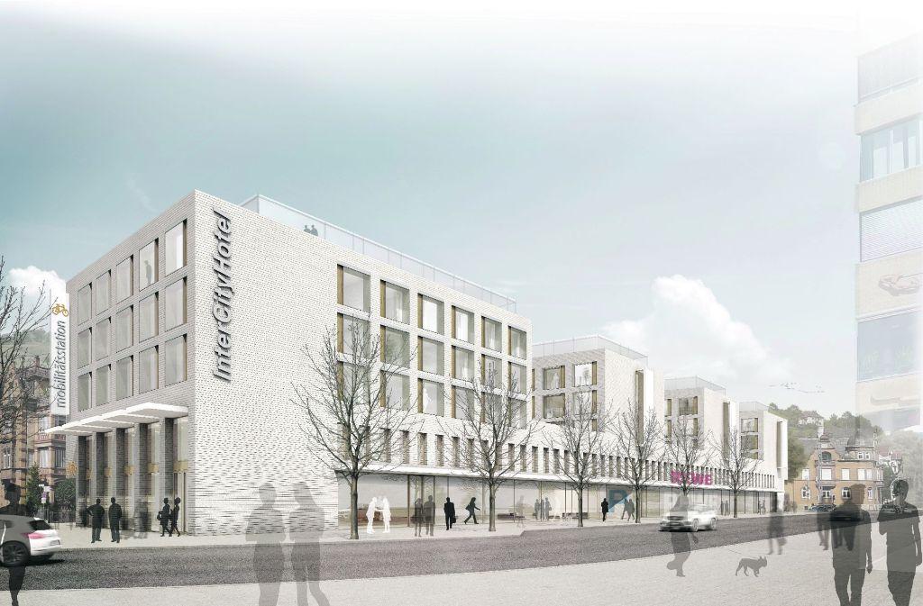 So soll der Neubau an der Berliner Straße aussehen, in dem auch ein 160-Betten-Hotel Platz finden soll. Bis es soweit ist, wird es noch eine ganze Weile dauern. Foto: Wittfoht Architekten