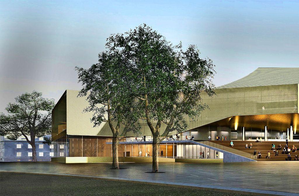 Eine große Freitreppe und Glasfassaden – so stellt sich das Architektturbüro Delugan Meissl das neue Schauspielhaus in Karlsruhe  vor. Foto: Landesbetrieb Vermögen und Bau