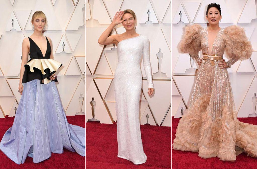 Licht und Schatten bei den Oscar-Roben: Saoirse Ronan (links) und Sandra Oh (rechts) griffen daneben, Renée Zellweger traf ins Schwarze. Foto: AFP/AFP