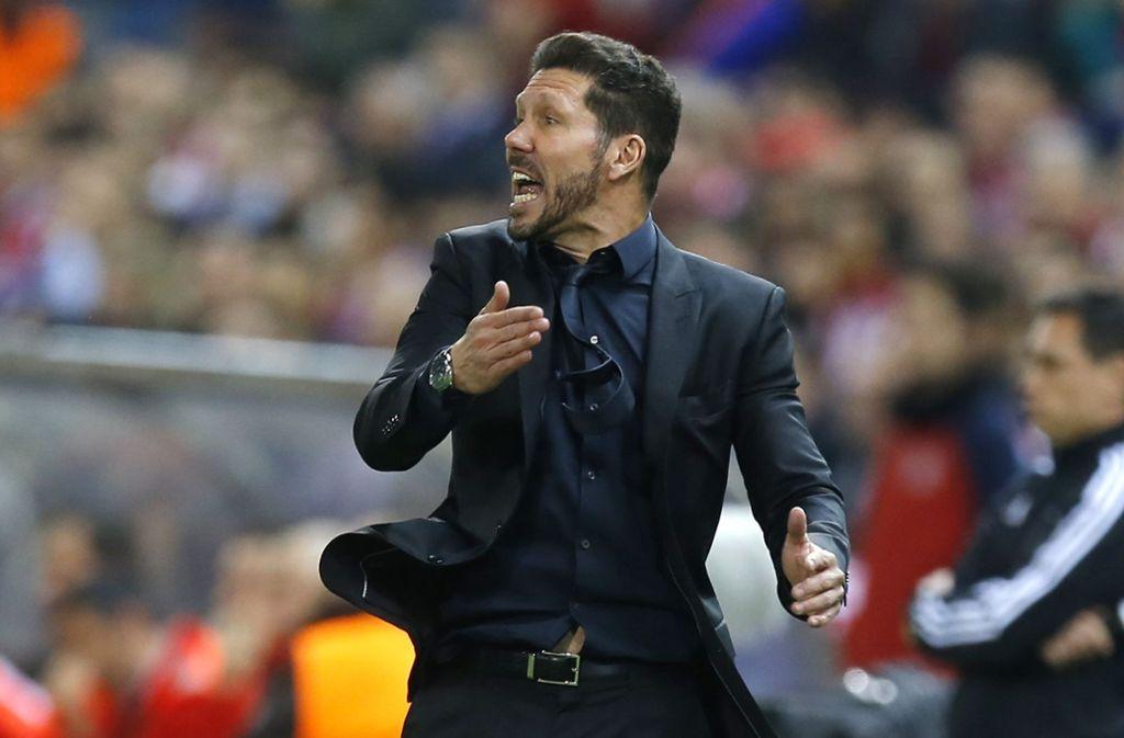 Der Vulkan an der Außenlinie: der Trainer Diego Simeone treibt Atlético Madrid seit Anfang 2012 an. An diesem Sonntag kommt er mit seinem Team nach Stuttgart. Foto: AP