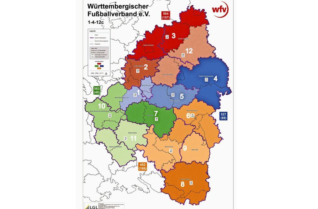 Nur noch 12 statt bislang 16 Fußballbezirke in Württemberg: der Vorschlag der Kommission Strukturreform. Foto: WFV