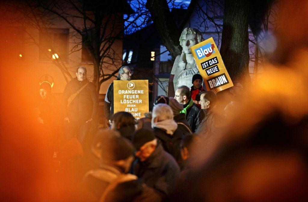 Bereits kurz vor der Landtagswahl haben Bürger im Februar gegen eine Veranstaltung der AfD in Backnang demonstriert. Foto: Gottfried Stoppel/Archiv