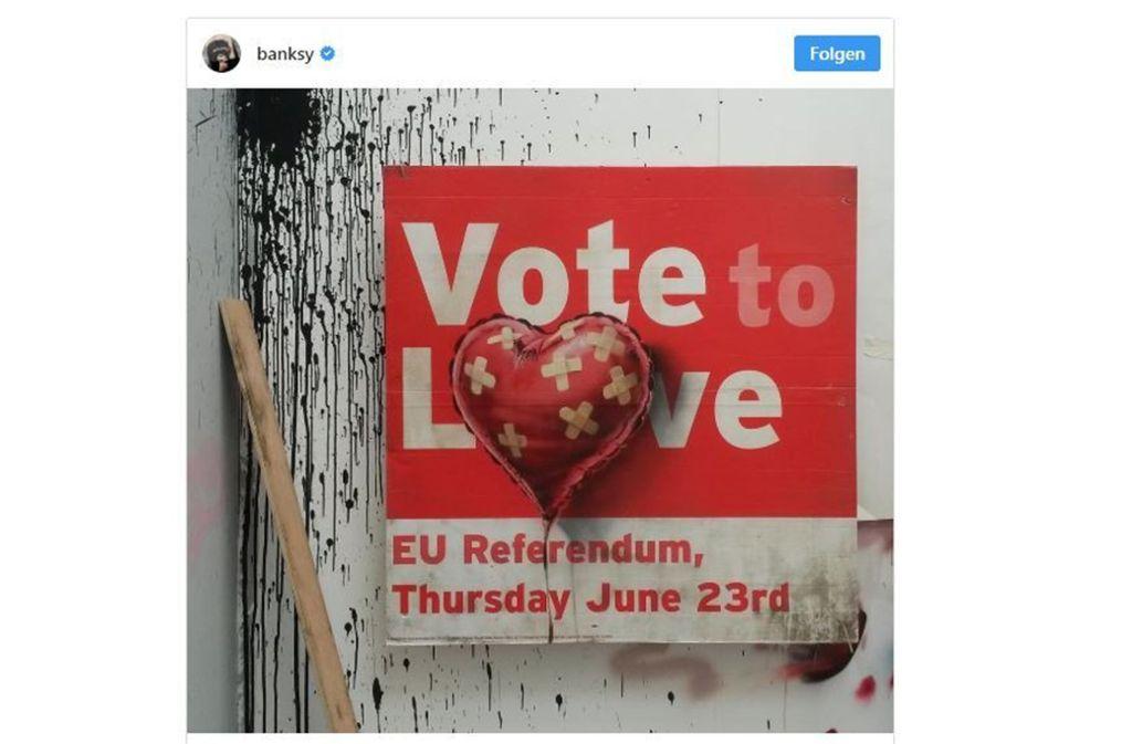 Banksy präsentiert sein zuerst abgelehntes Werk auf Instagram. Foto: Screenshot Instagram