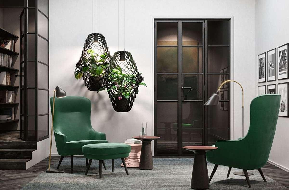 """Wie können grüne Pflanzen im Raum inszeniert werden? """"Hanging Eden"""" sie als grüne Biosphären im Raum schweben.  Foto: Walter Knoll"""